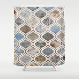 Sand and Surf Arabesque Pattern Shower Curtain