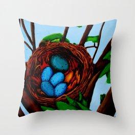 Robin Blue Throw Pillow