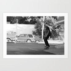 Skateboarding Giraffe Art Print