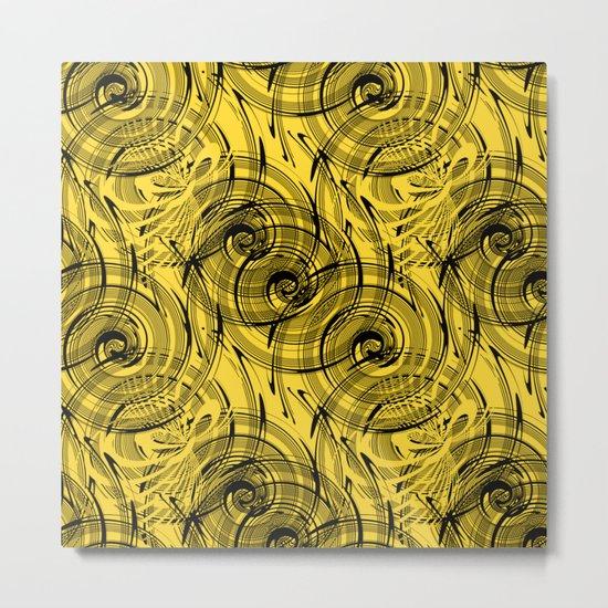 Yellow , black , abstraction , spiral Metal Print