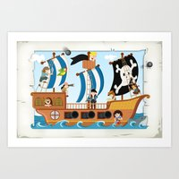 pirate ship Art Prints featuring Pirate ship by Michaela Heimlich