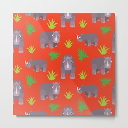 Happy hippo red background Metal Print