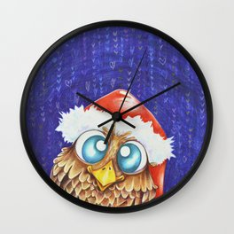 Owl I want for Christmas Wall Clock