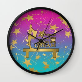 Gymnastics Live Your Dream with Pink to Blue Gradient  and Gold Stars Background Wall Clock