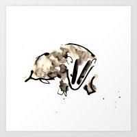 badger Art Prints featuring Badger by Jen Moules