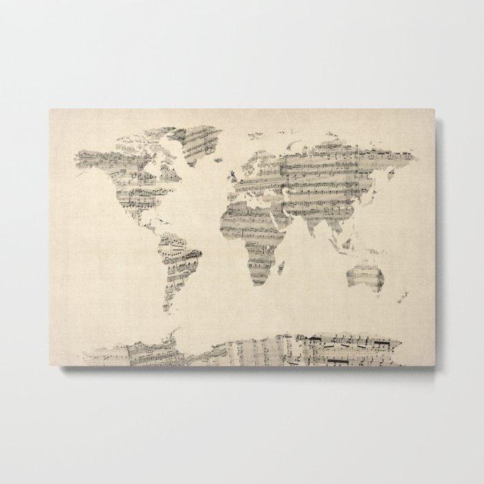 Old Sheet Music World Map Metal Print