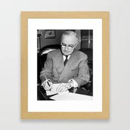 Truman Signing Documents - Korean War - 1950 Framed Art Print