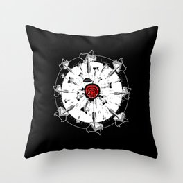 Abstract installation on the theme of darts. Throw Pillow