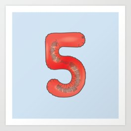 Number 5 - 36 Days of Type  Art Print