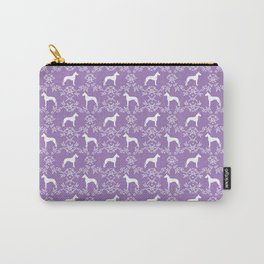 Great Dane floral silhouette dog breed pattern minimal simple purple and white great danes Carry-All Pouch
