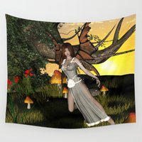 elf Wall Tapestries featuring Beautiful  elf by nicky2342