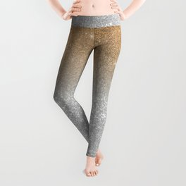 Trendy silver elegant gold gradient glitter pattern Leggings