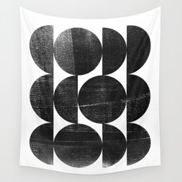 Black and White Mid Century Modern Op Art Wall Tapestry