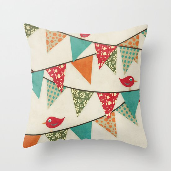 Home Birds 'N' Bunting. Throw Pillow