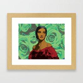 Maria Callas in Aqua Green Framed Art Print