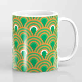 retro sixties inspired fan pattern in green and orange Coffee Mug