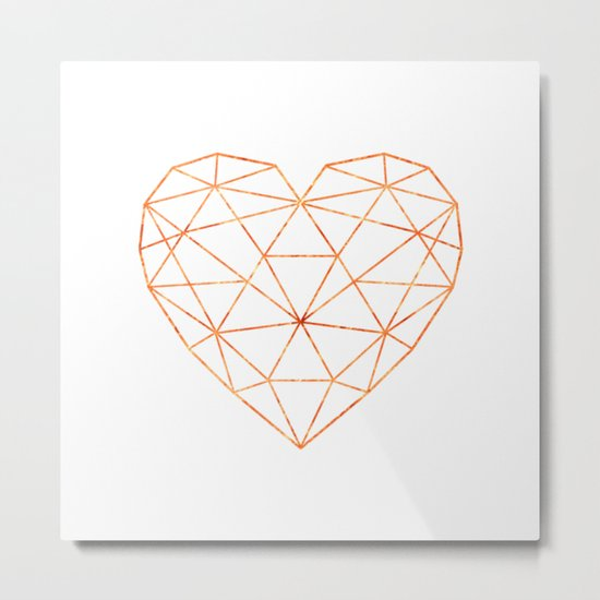 COPPER HEART (WHITE) Metal Print