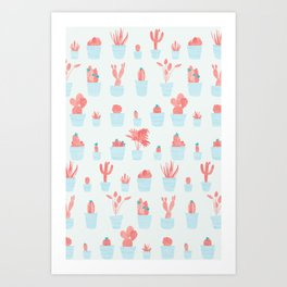 Cacti and Plants in Pots | Red and Mint Palette Art Print