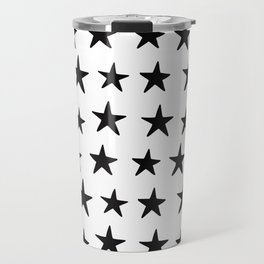 Star Pattern Black On White Travel Mug