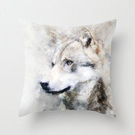 Watercolour grey wolf portrait Throw Pillow