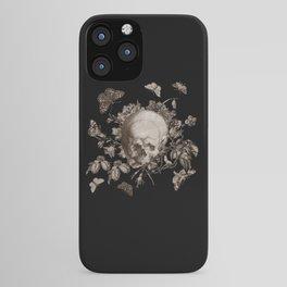 BLACK GOTHIC FLORAL SKULL Illustration iPhone Case