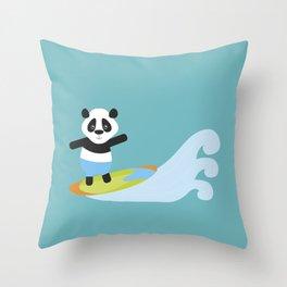 Surf Panda Throw Pillow