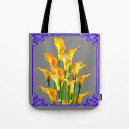 PURPLE-GREY ART NOUVEAU GOLDEN CALLA LILIES Tote Bag