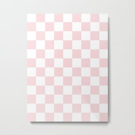 Checkered - White and Light Pink Metal Print