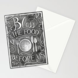 """""""Bless The Food Before Us"""" Chalkboard Kitchen Art Stationery Cards"""