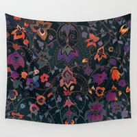 bali Wall Tapestries featuring Bali Floral by Nikkistrange