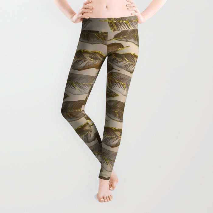 Gold Feather Pattern brown beige Leggings
