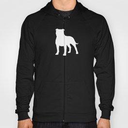 White Staffordshire Bull Terrier Silhouette Hoody