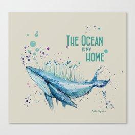 Blue Whale Island Canvas Print