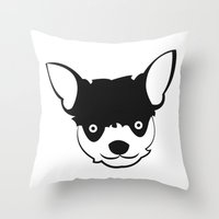 chihuahua Throw Pillows featuring Chihuahua by anabelledubois