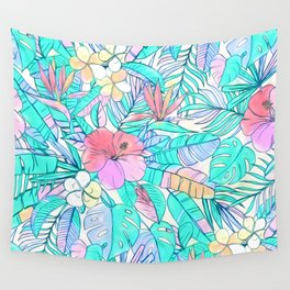 Pretty Pastel Hawaiian Hibiscus Print Wall Tapestry