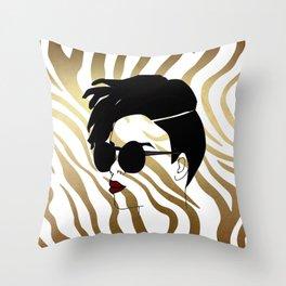 Black Woman on Gold Zebra Print Throw Pillow