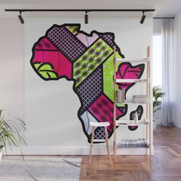 Pink and Green Africa Map Wall Mural