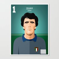 juventus Canvas Prints featuring Zoff 1982 by boobee