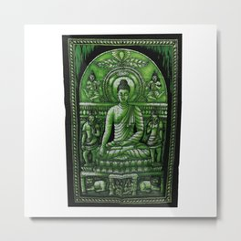 Vintage art Buddha Meditation Green Batik Wall Hanging  Metal Print