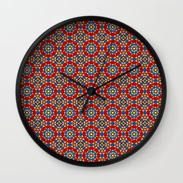 Moroccan Tile 2B - Red Wall Clock