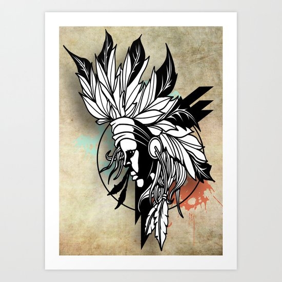 Native Girl Design Art Print
