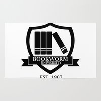 bookworm Area & Throw Rugs featuring Bookworm University by bookwormboutique