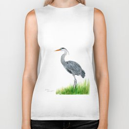 """Tall and Graceful"" the Blue Heron by Teresa Thompson Biker Tank"