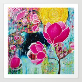 STAINED GLASS MAGNOLIAS Art Print