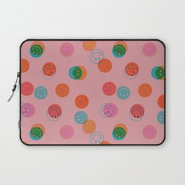 Smiley Face Stamp Print in Pink Laptop Sleeve