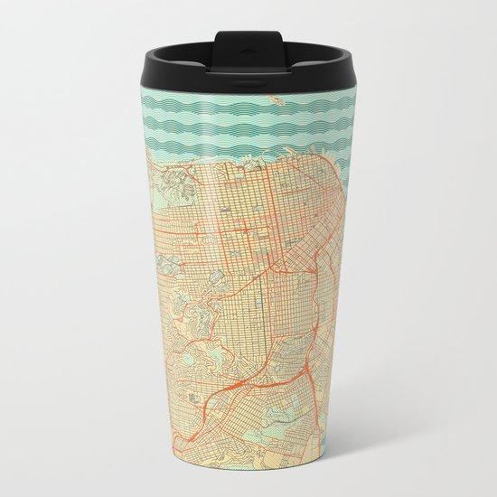 San Francisco Map Retro Metal Travel Mug