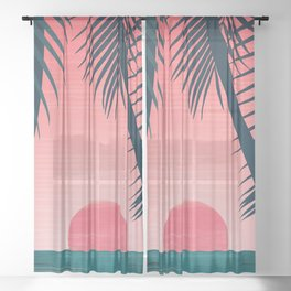 Tropical Sunset Scene - Pink and Emerald Palette Sheer Curtain