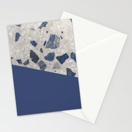 Terrazzo Texture Dark Blue #2 Stationery Cards