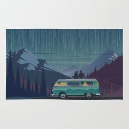 Retro Camping under the stars Rug