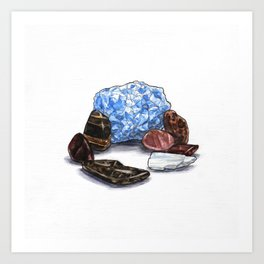 Blue Calcite and Various Stones Art Print